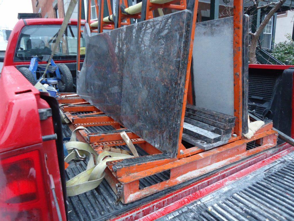 Granite slab prepared for countertop