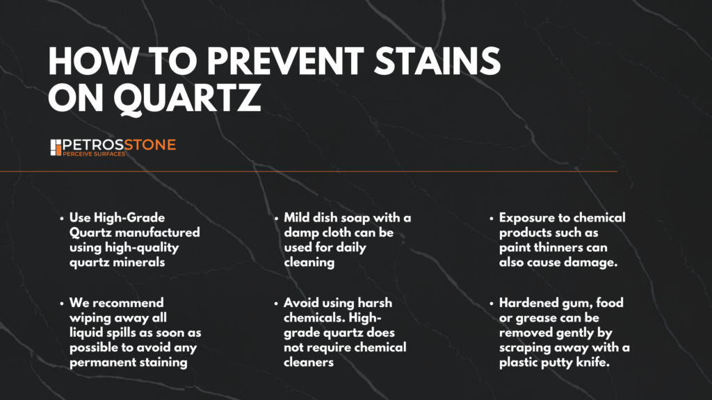 Ways to prevent stains on Quartz. Tips on how to prevent stains on quartz coutnertops. Tips to take care of quartz countertops.