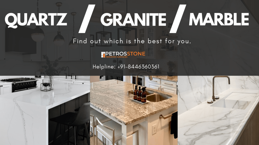 QUartz or Granite, which is best. Find out the best optoin among quartz, granite and marble for kitchen countertops.