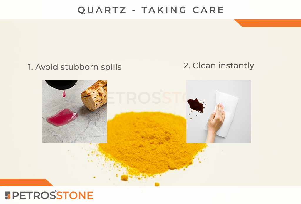 Taking care of quartz countertops. Prventing quartz from getting stained.